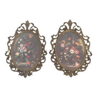 Antique Made in Italy Ornate Brass Framed Floral Art - Set of 2