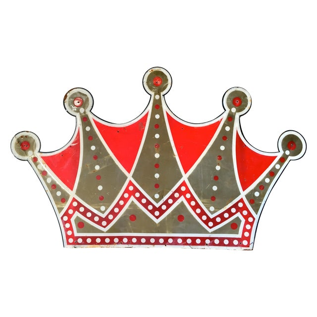 Image of Vintage Las Vegas Club Crown Metal Sign C. 1950s