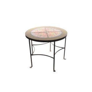 California Tiles & Wrought Iron -Beautiful Round Coffee Table- c1920s