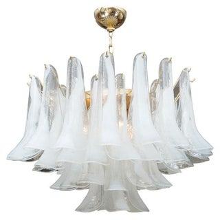 Mazzega Murano Blown Glass White Petal Chandelier