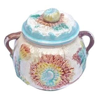 Antique Majolica Dahlia Lidded Bowl