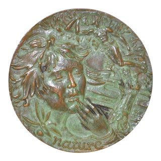 """Nature"" Sculptural Bronze Medallion c.1966"