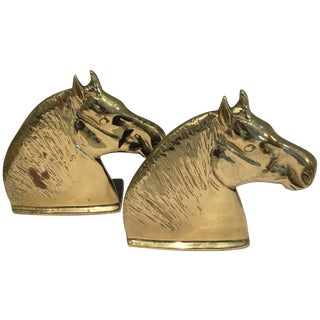 Vintage Brass Horse Head Bookends