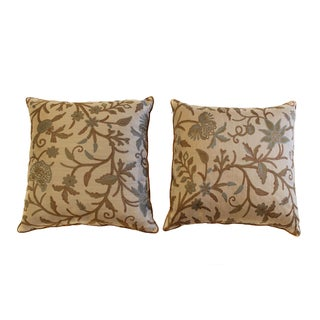 New Custom Pair of Floral Linen & Silk Pillows
