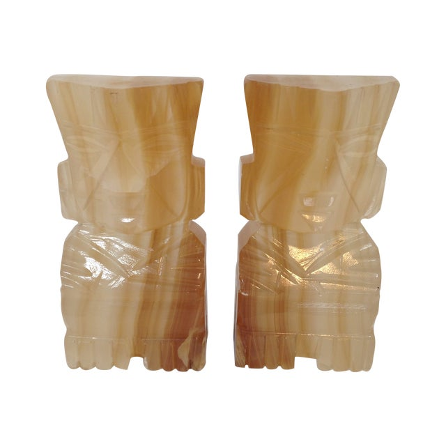 Image of Vintage Alabaster Tiki Bookends -Pair