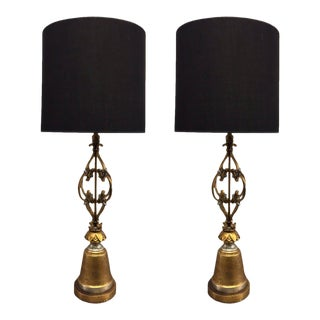 Pair of Arturo Pani Style Wrought Iron Gold Leaf Lamps