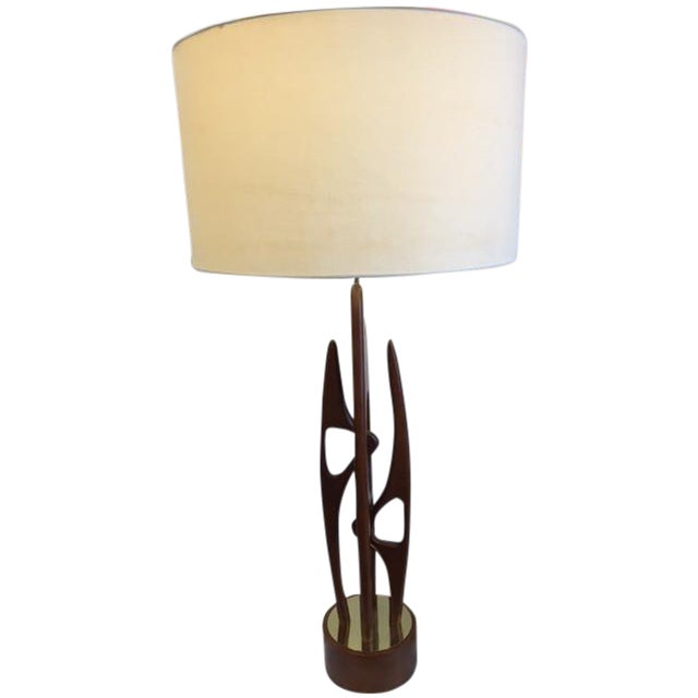 Mid Century Modern Walnut & Brass Table Lamp - Image 1 of 5