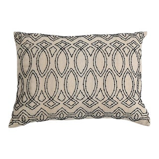 Pyar Contemporary Black Beaded Pillow