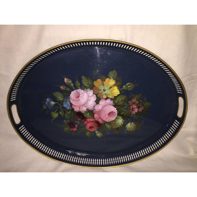 French Hand Painted Toleware Tray With Roses C.1950 - Image 2 of 8