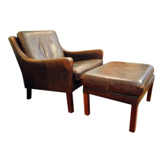 Georg Thams 1960's Danish Modern Leather Easy Chair With Ottoman