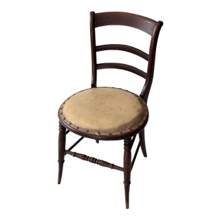 19th Century Wood Chair With Upholstered Seat