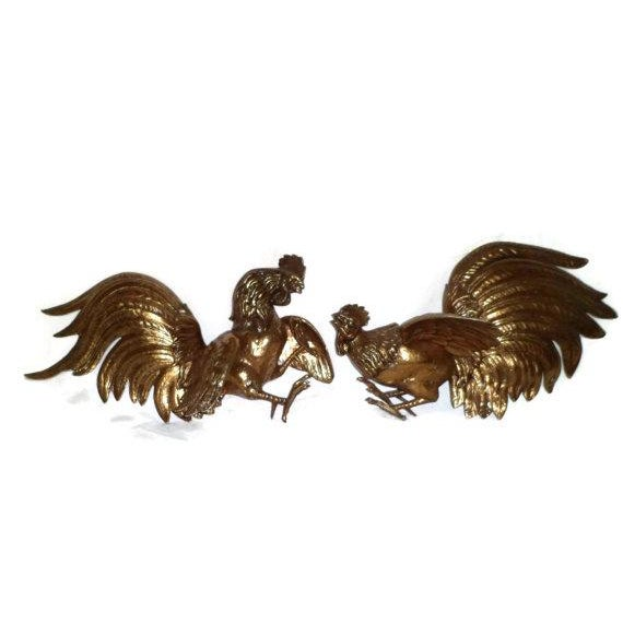 Vintage 1960s Fighting Metal Roosters - Image 1 of 5