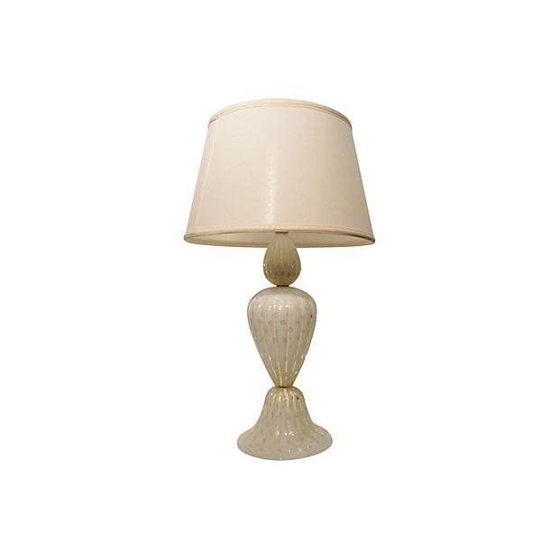 White Murano Art Glass Table Lamp - Image 1 of 7