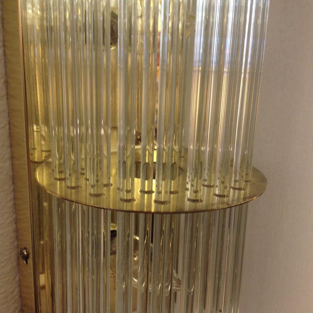 Image of Mid-Century Brass and Glass Sconce