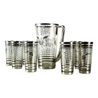French Art Deco Silver Overlay Crystal Cocktail Glasses & Pitcher - Set of 9