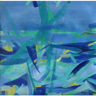 """""""Constructivist Blues"""" Abstract Oil Painting"""