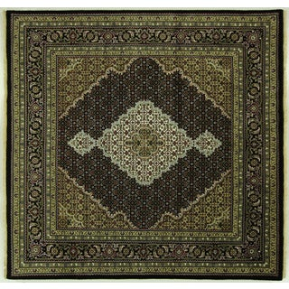 "Floral Tabriz Wool & Silk Square Rug - 6'1"" x 6'1"""