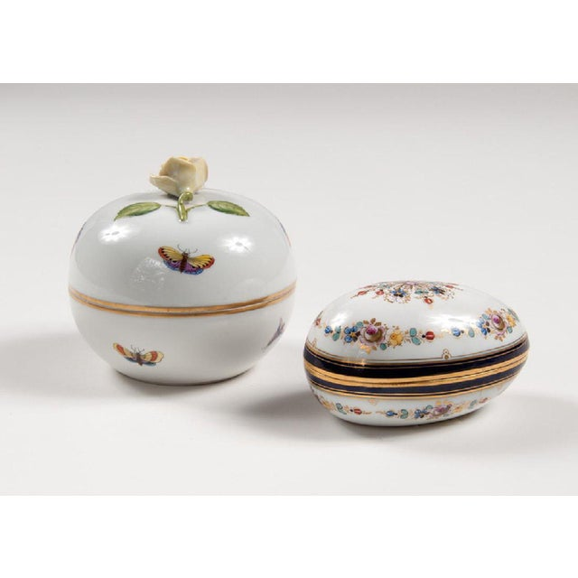 Meissen & Herend Continental Porcelain Boxes - A Pair - Image 2 of 3