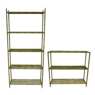 Green Metal Bamboo Shelves - A Pair