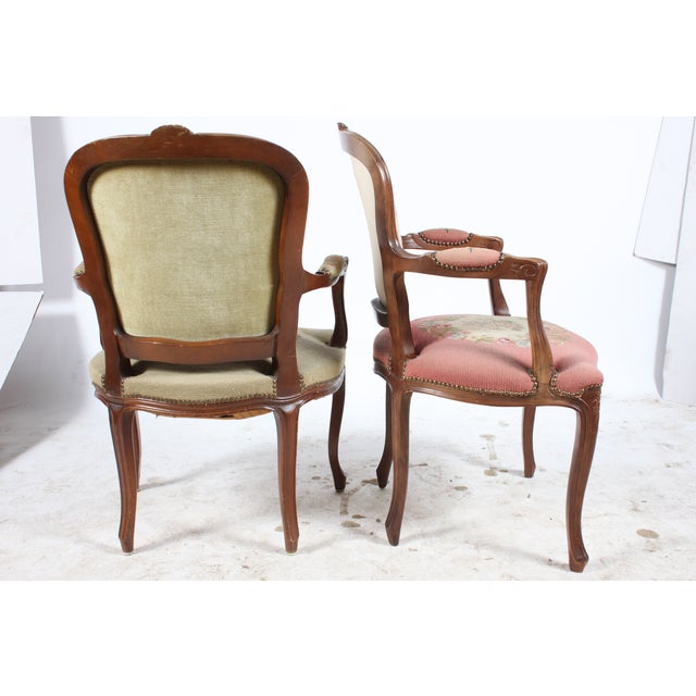 vintage louis xvi style fauteuil chairs a pair chairish. Black Bedroom Furniture Sets. Home Design Ideas