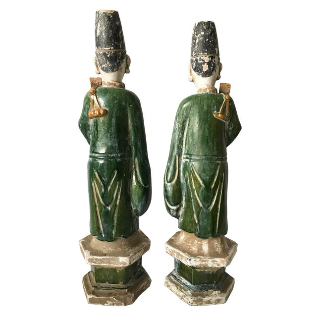Chinese Ming Dynasty Glazed Pottery Tomb Figures - A Pair - Image 5 of 6