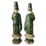 Image of Chinese Ming Dynasty Glazed Pottery Tomb Figures - A Pair