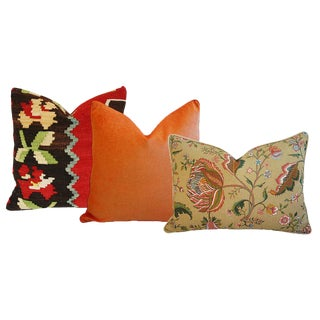 Anatolian Turkish Kilim Wool, Tangerine Orange Velvet, & Brunschwig & Fils Floral Feather/Down Pillows - Set of 3
