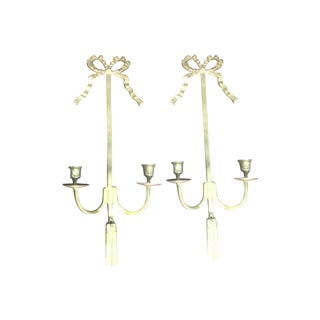 Brass Bow Sconces - A Pair