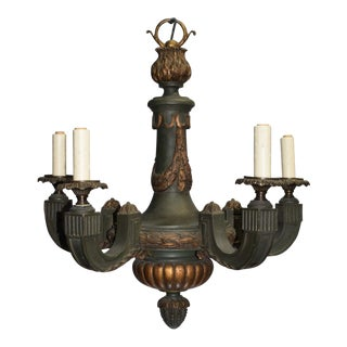 Antique chandelier, gilt and painted wood