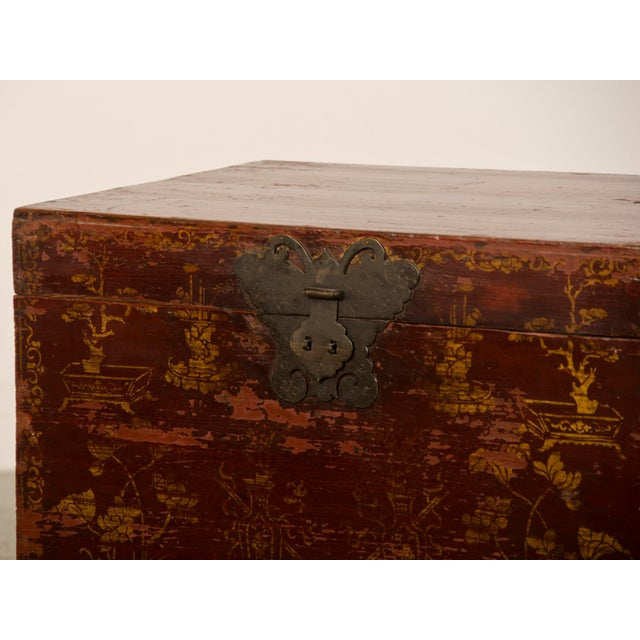 Red Lacquer Antique Chinese Trunk Kuang Hsu Period circa 1875 - Image 7 of 11
