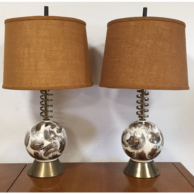Mid Century Brass Corkscrew Table Lamps - A Pair - Image 2 of 10