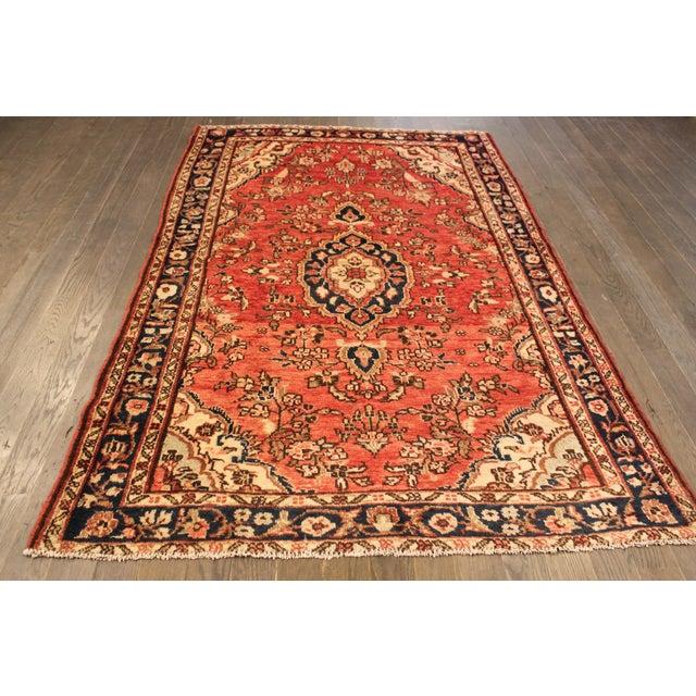 "Vintage Red & Blue Persian Wool Rug - 4'1"" X 6'8"" - Image 2 of 4"