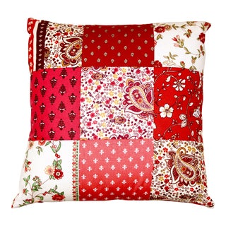 French Red Patchwork Pillow