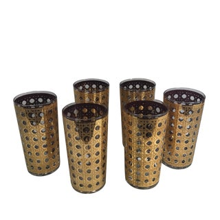 Culver Cannela Gold Highball Glasses - Set of 6