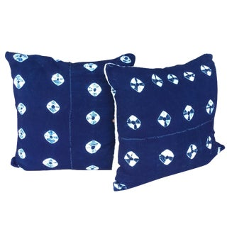 Indigo Mud Cloth Pillows - A Pair