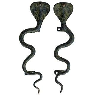 Large Green Brass Cobra Door Handles - A Pair