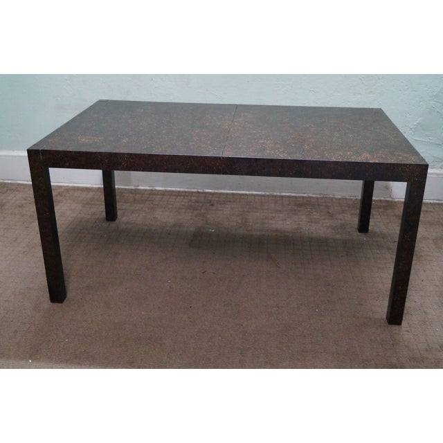 Drexel Faux Tortoise Shell Parsons Dining Table - Image 2 of 9