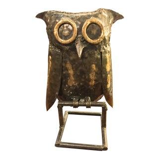 Vintage Brutalist Style Metal Owl Statue