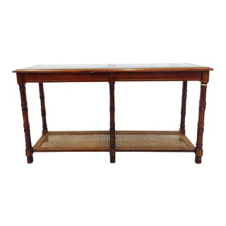 Mid-Century Cane & Glass Console