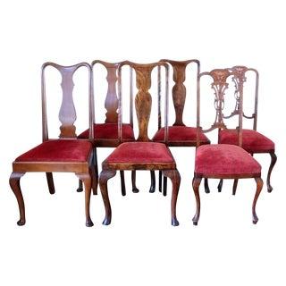 Three Pairs of Walnut & Red Chairs - Set of 6