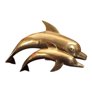 1960s Large Brass Dolphins - A Pair