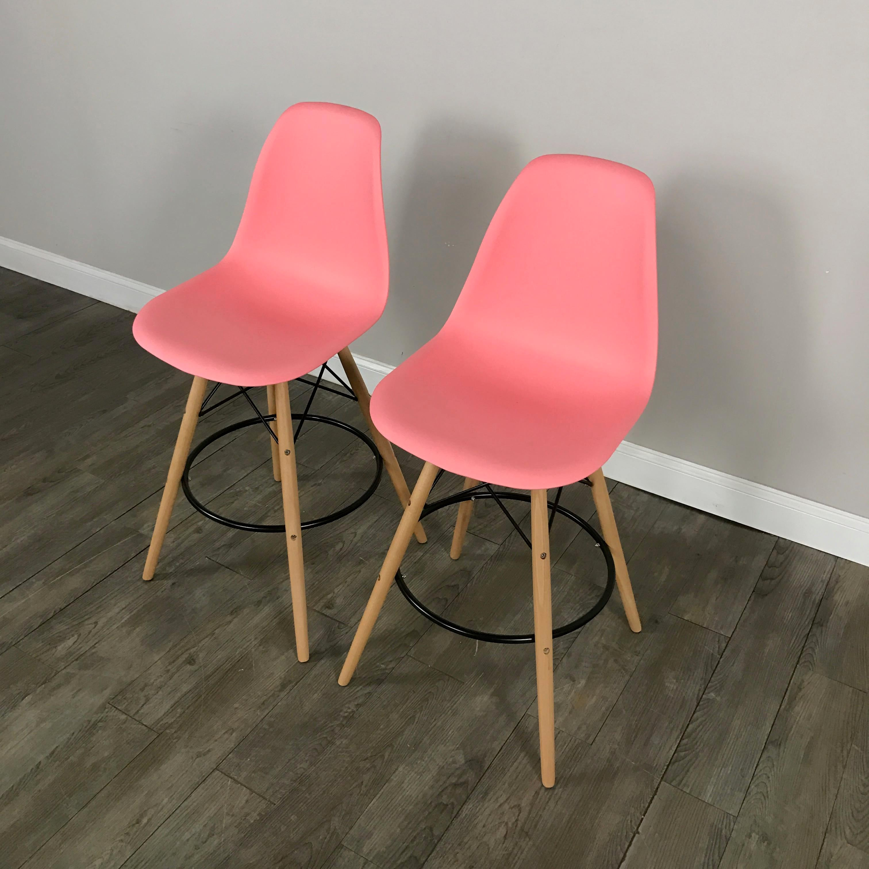 Pink Mid Century Bar Stools Set Of 2 Chairish