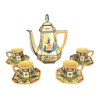 Vintage Quimper Soleil Tea Set - Set of 5