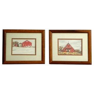 Watercolor Barn Scenes - Pair