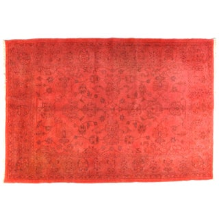 "Red Over-dyed Persian Carpet - 9'1"" x 6'3"""