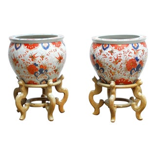 Gumps Chinese Porcelain Fish Bowls on Stands - A Pair