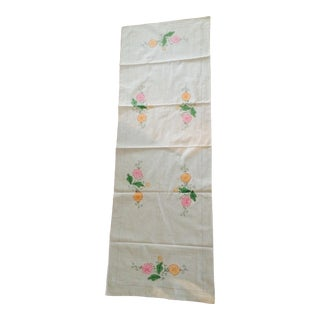 Vintage Applique & Stitching Linen Table Runner