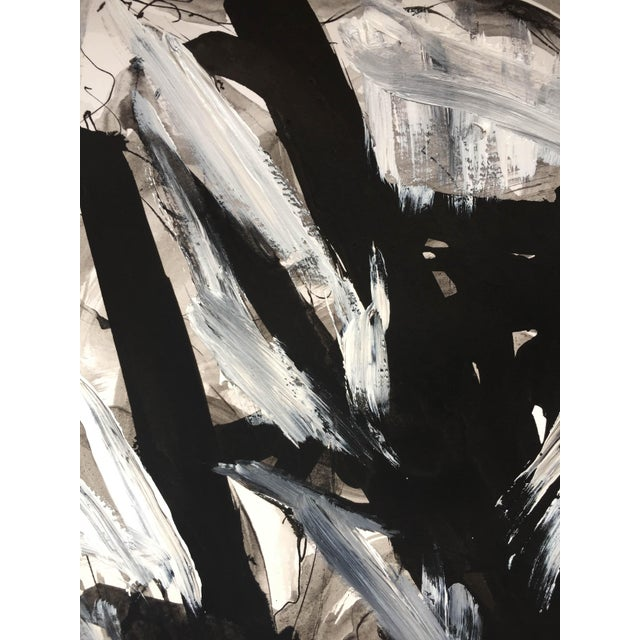 Black Jack Black & White Abstract Acrylic / Ink Painting