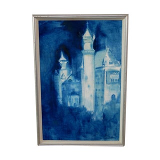 Mysterious Indigo Blue Castle Painting