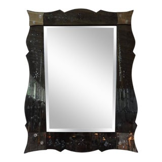 Venetian Mirror With Etched Border and Beveled Center